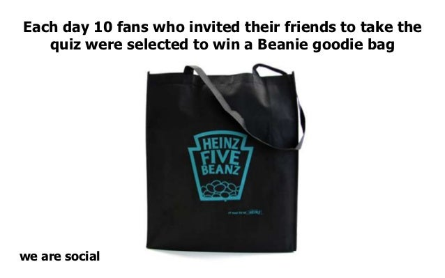 Each day 10 fans who invited their friends to take the   quiz were selected to win a Beanie goodie bagwe are social