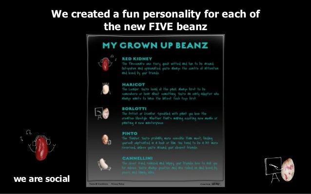 We created a fun personality for each of                 the new FIVE beanzwe are social