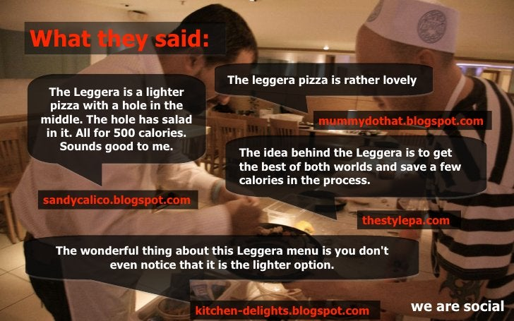 What they said:                                      The leggera pizza is rather lovely   The Leggera is a lighter   pizza...