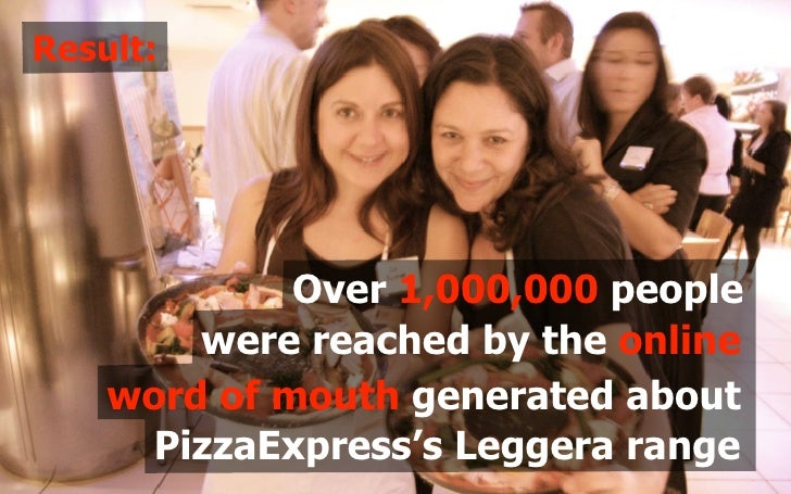 Result:                  Over 1,000,000 people         were reached by the online     word of mouth generated about      P...