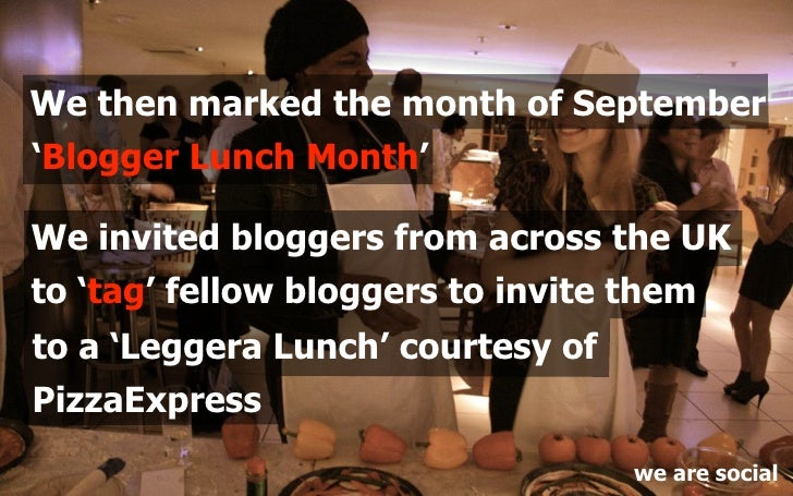 We then marked the month of September 'Blogger Lunch Month'  We invited bloggers from across the UK to 'tag' fellow blogge...