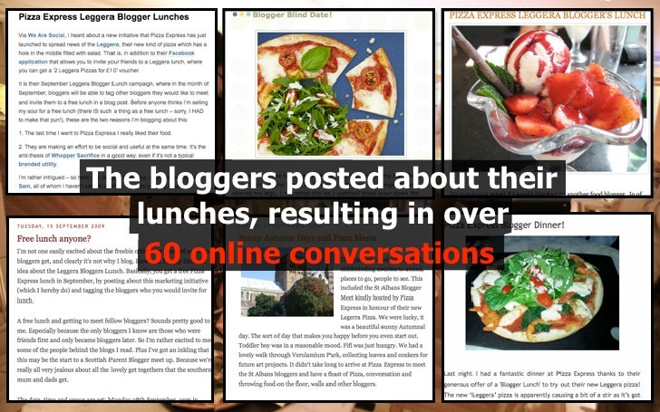 The bloggers posted about their    lunches, resulting in over     60 online conversations