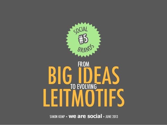 BIG IDEAS1#5SIMON KEMP • we are social• JUNE 2013LEITMOTIFSTO EVOLVINGFROM