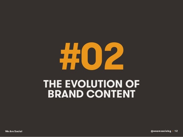 @wearesocialsg • 12We Are Social #02THE EVOLUTION OF BRAND CONTENT