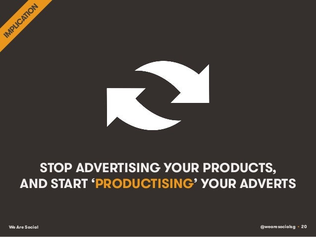 @wearesocialsg • 20We Are Social STOP ADVERTISING YOUR PRODUCTS, AND START 'PRODUCTISING' YOUR ADVERTS