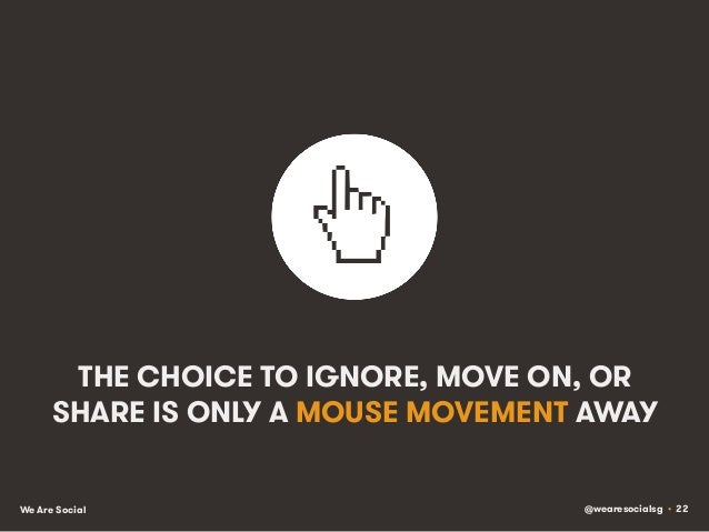 @wearesocialsg • 22We Are Social THE CHOICE TO IGNORE, MOVE ON, OR SHARE IS ONLY A MOUSE MOVEMENT AWAY