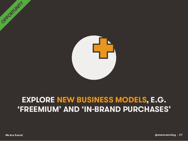 @wearesocialsg • 27We Are Social EXPLORE NEW BUSINESS MODELS, E.G. 'FREEMIUM' AND 'IN-BRAND PURCHASES'