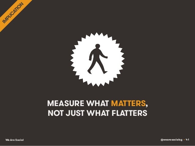 @wearesocialsg • 41We Are Social MEASURE WHAT MATTERS, NOT JUST WHAT FLATTERS