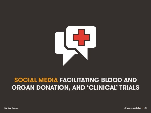 @wearesocialsg • 45We Are Social SOCIAL MEDIA FACILITATING BLOOD AND ORGAN DONATION, AND 'CLINICAL' TRIALS