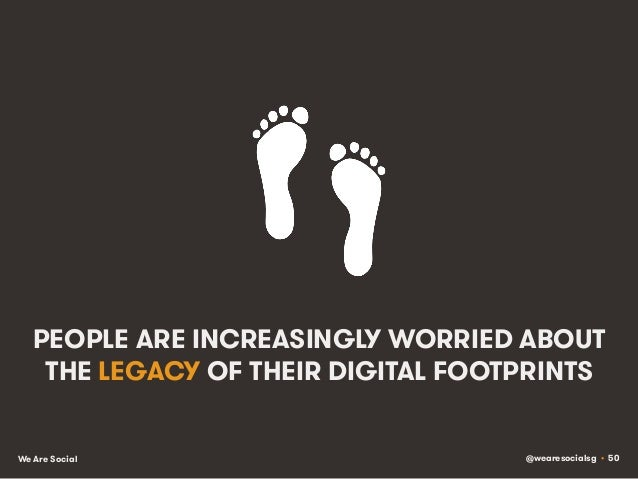 @wearesocialsg • 50We Are Social PEOPLE ARE INCREASINGLY WORRIED ABOUT THE LEGACY OF THEIR DIGITAL FOOTPRINTS