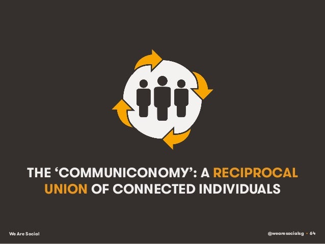@wearesocialsg • 64We Are Social THE 'COMMUNICONOMY': A RECIPROCAL UNION OF CONNECTED INDIVIDUALS
