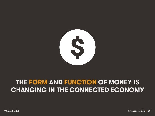 @wearesocialsg • 69We Are Social THE FORM AND FUNCTION OF MONEY IS CHANGING IN THE CONNECTED ECONOMY