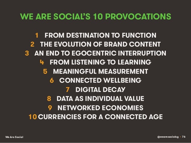 @wearesocialsg • 76We Are Social WE ARE SOCIAL'S 10 PROVOCATIONS 1 FROM DESTINATION TO FUNCTION 2 THE EVOLUTION OF BRAND...