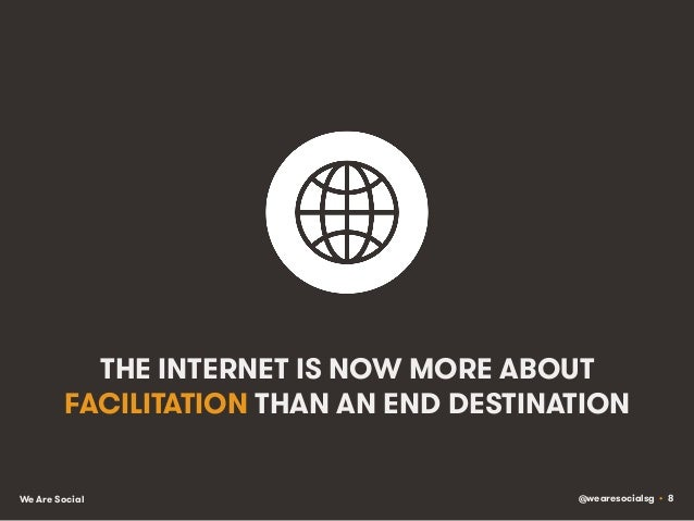 @wearesocialsg • 8We Are Social THE INTERNET IS NOW MORE ABOUT FACILITATION THAN AN END DESTINATION