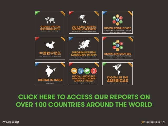 We Are Social @wearesocialsg • 4 CLICK HERE TO ACCESS OUR REPORTS ON OVER 100 COUNTRIES AROUND THE WORLD