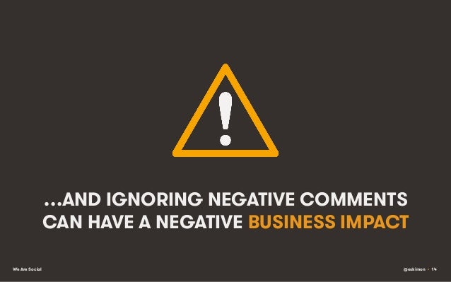 …AND IGNORING NEGATIVE COMMENTS CAN HAVE A NEGATIVE BUSINESS IMPACT We Are Social  @eskimon • 14