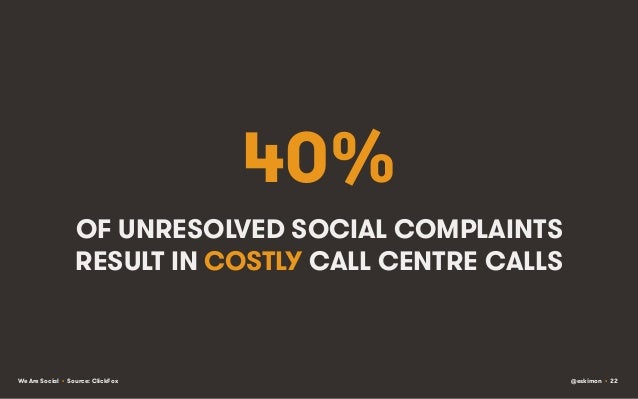 40% OF UNRESOLVED SOCIAL COMPLAINTS RESULT IN COSTLY CALL CENTRE CALLS  We Are Social • Source: ClickFox  @eskimon • 22