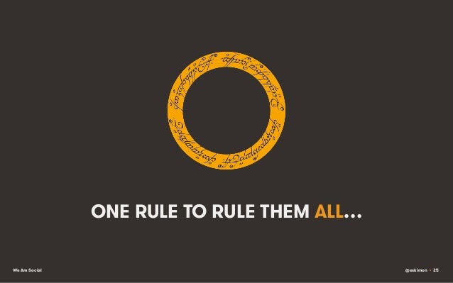 ONE RULE TO RULE THEM ALL… We Are Social  @eskimon • 25