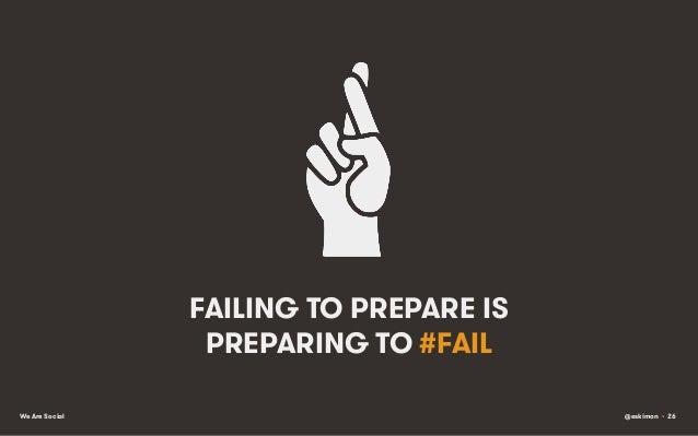 FAILING TO PREPARE IS PREPARING TO #FAIL We Are Social  @eskimon • 26