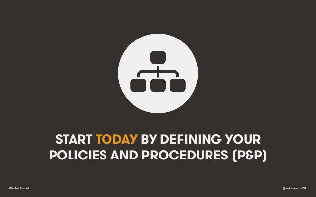 START TODAY BY DEFINING YOUR POLICIES AND PROCEDURES (P&P) We Are Social  @eskimon • 28