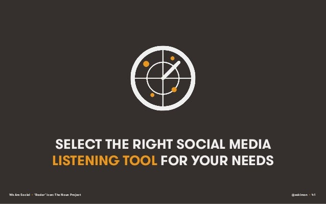 SELECT THE RIGHT SOCIAL MEDIA LISTENING TOOL FOR YOUR NEEDS We Are Social • 'Radar' icon: The Noun Project  @eskimon • 41