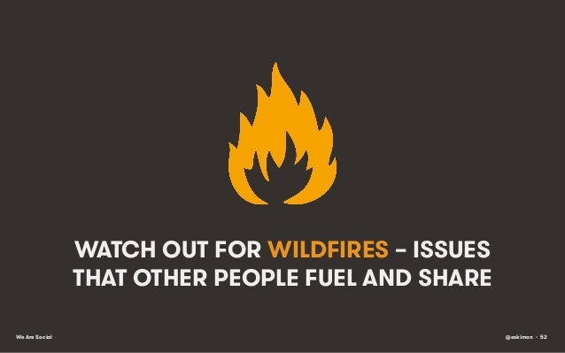 WATCH OUT FOR WILDFIRES – ISSUES THAT OTHER PEOPLE FUEL AND SHARE We Are Social  @eskimon • 52
