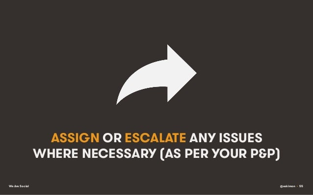 ASSIGN OR ESCALATE ANY ISSUES WHERE NECESSARY (AS PER YOUR P&P) We Are Social  @eskimon • 55