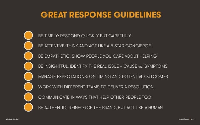 GREAT RESPONSE GUIDELINES BE TIMELY: RESPOND QUICKLY BUT CAREFULLY BE ATTENTIVE: THINK AND ACT LIKE A 5-STAR CONCIERGE BE ...
