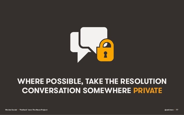 WHERE POSSIBLE, TAKE THE RESOLUTION CONVERSATION SOMEWHERE PRIVATE We Are Social • 'Padlock' icon: The Noun Project  @eski...