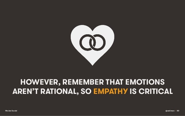 HOWEVER, REMEMBER THAT EMOTIONS AREN'T RATIONAL, SO EMPATHY IS CRITICAL We Are Social  @eskimon • 80