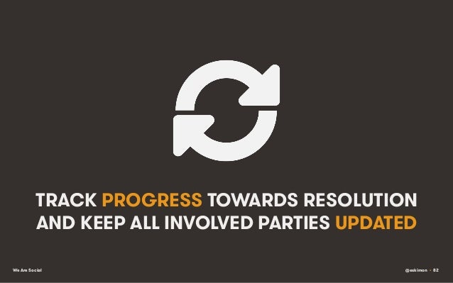 TRACK PROGRESS TOWARDS RESOLUTION AND KEEP ALL INVOLVED PARTIES UPDATED We Are Social  @eskimon • 82