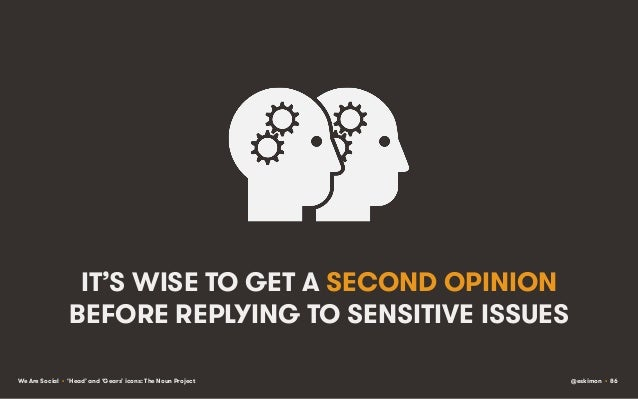 IT'S WISE TO GET A SECOND OPINION BEFORE REPLYING TO SENSITIVE ISSUES We Are Social • 'Head' and 'Gears' icons: The Noun P...
