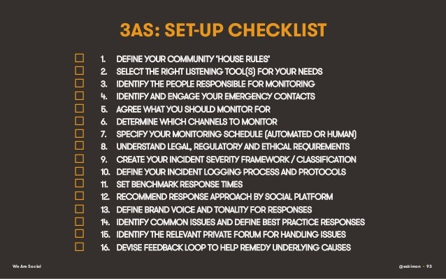 3AS: SET-UP CHECKLIST ¨ ¨ ¨ ¨ ¨ ¨ ¨ ¨ ¨ ¨ ¨ ¨ ¨ ¨ ¨ ¨ We Are Social  1.  DEFINE YOUR COMM...