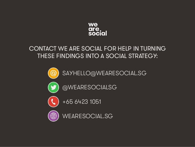 wearesocial.sg • @wearesocialsg • 3We Are Social CONTACT WE ARE SOCIAL FOR HELP IN TURNING THESE FINDINGS INTO A SOCIAL ST...
