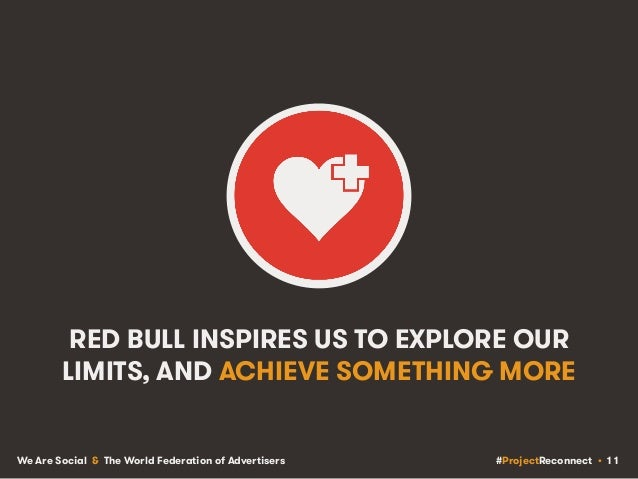 #ProjectReconnect • 11We Are Social & The World Federation of Advertisers RED BULL INSPIRES US TO EXPLORE OUR LIMITS, AND ...