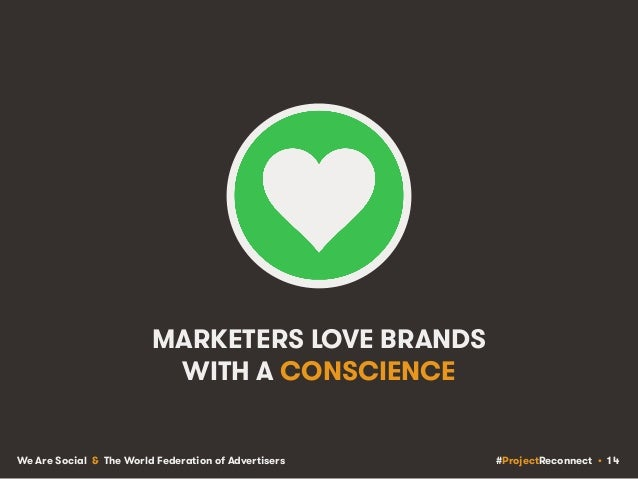 #ProjectReconnect • 14We Are Social & The World Federation of Advertisers MARKETERS LOVE BRANDS WITH A CONSCIENCE