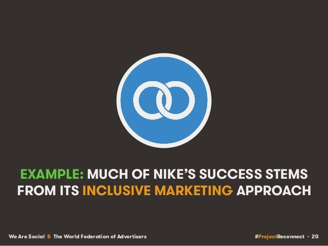 #ProjectReconnect • 20We Are Social & The World Federation of Advertisers EXAMPLE: MUCH OF NIKE'S SUCCESS STEMS FROM ITS I...