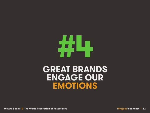 #ProjectReconnect • 22We Are Social & The World Federation of Advertisers #4GREAT BRANDS ENGAGE OUR EMOTIONS