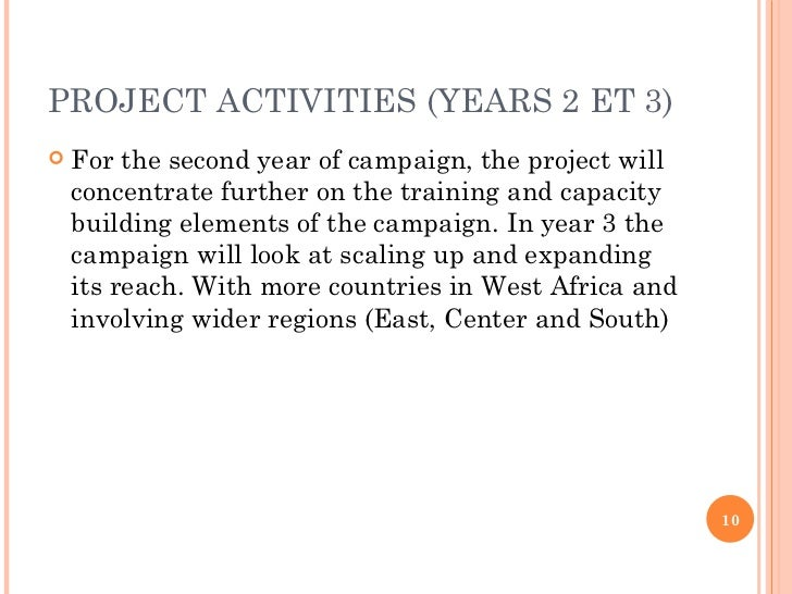 PROJECT ACTIVITIES (YEARS 2 ET 3) <ul><li>For the second year of campaign, the project will concentrate further on the tra...