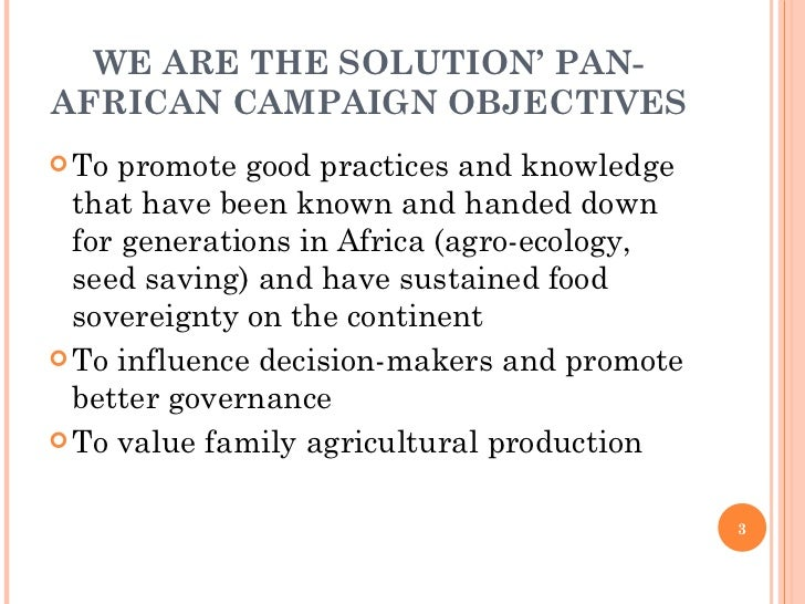 WE ARE THE SOLUTION' PAN-AFRICAN CAMPAIGN OBJECTIVES <ul><li>To promote good practices and knowledge that have been known ...