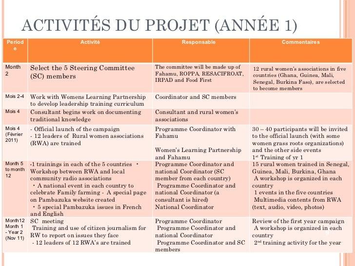 ACTIVITÉS DU PROJET (ANNÉE 1) Periode Activité Responsable  Commentaires Month 2 Select the 5 Steering Committee (SC) memb...