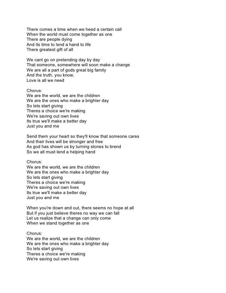 Lyric lyrics to family of god : We are the world