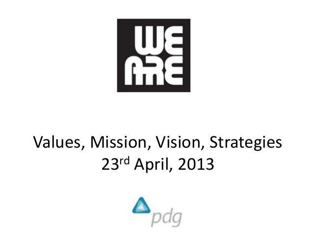 Values, Mission, Vision, Strategies23rd April, 2013