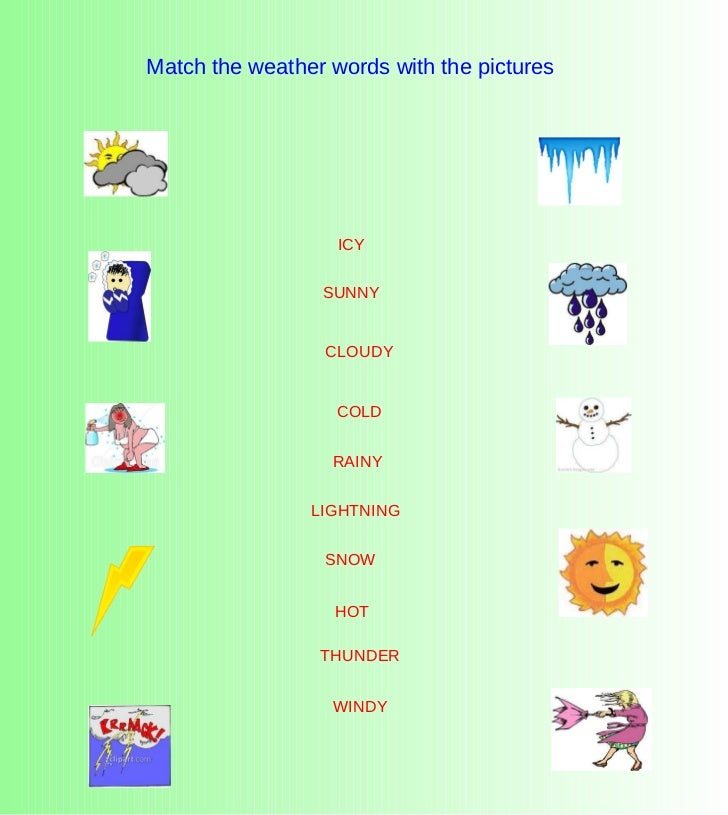Match the weather words with the pictures SNOW COLD WINDY SUNNY RAINY THUNDER CLOUDY ICY HOT LIGHTNING