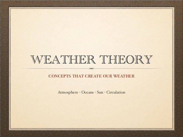 WEATHER THEORY concepts that create our weather Atmosphere - Oceans - Sun - Circulation