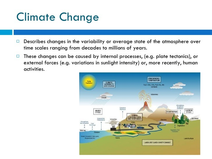 Climate Change <ul><li>Describes changes in the variability or average state of the atmosphere over time scales ranging fr...