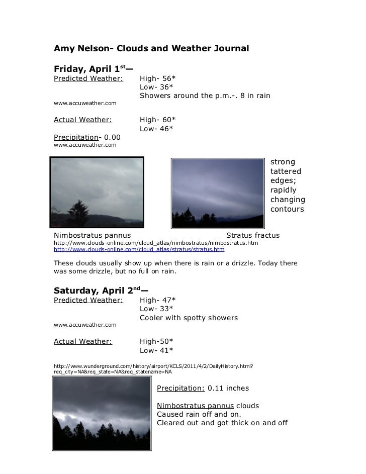 Amy Nelson- Clouds and Weather JournalFriday, April 1st—Predicted Weather:              High- 56*                         ...
