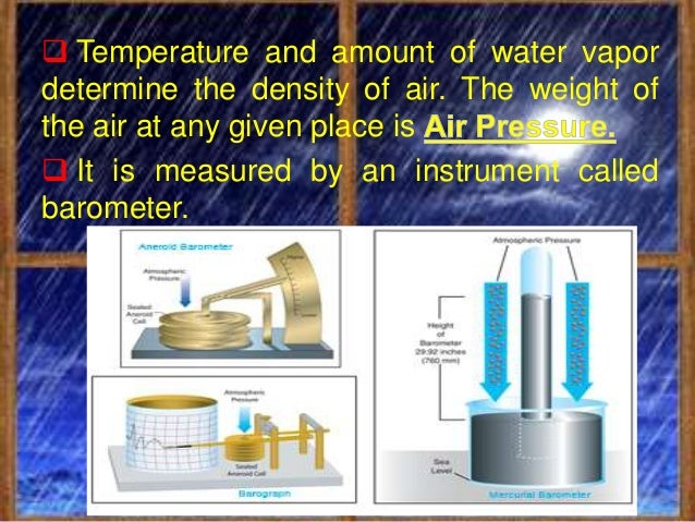 Air pressure is determined by: Altitude   - the higher you go, the lower the air   pressure, as the amount of air molecul...