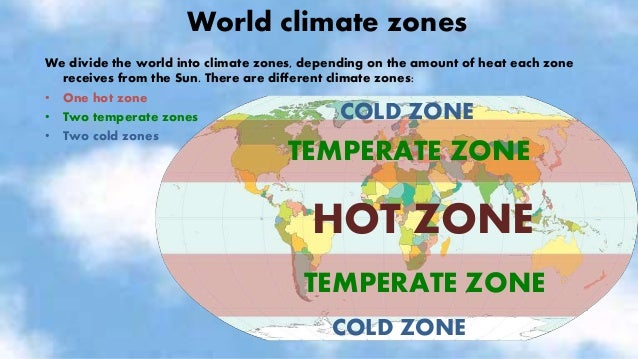 CLIMATES IN HOT ZONES • HOT CLIMATES RAINFOREST These places have high temperatures all year and it rains a lot. Animals: ...