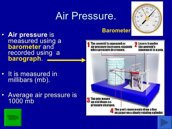Air Pressure. <ul><li>Air pressure  is measured using a  barometer  and recorded using  a  barograph .  </li></ul><ul><li>...
